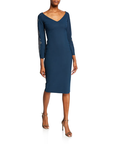 V-Neck Long-Sleeve Sheath Dress with Embroidery