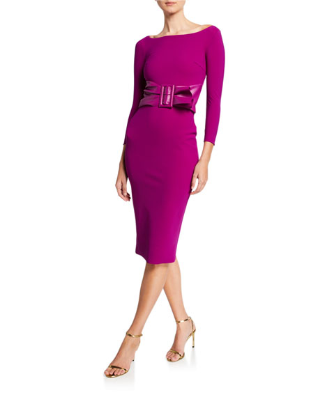 Bateau-Neck 3/4-Sleeve Belted Dress