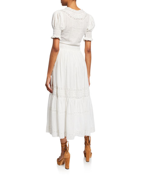 Ayla Lace-Trim Cotton Long Dress