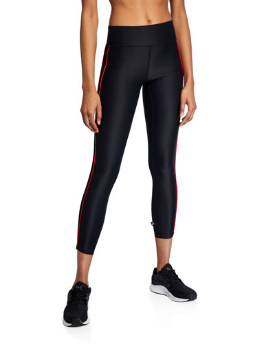 Mid-Rise Cropped Leggings with Piping