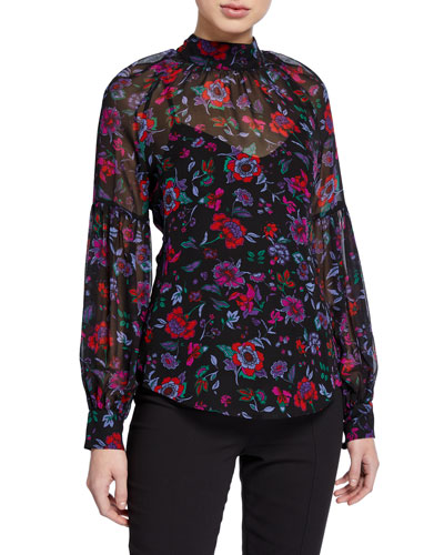 Harlem High-Neck Floral Top