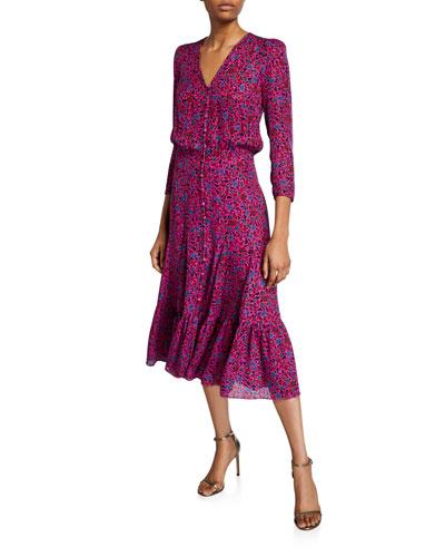 Lasanna 3/4-Sleeve Floral Midi Dress