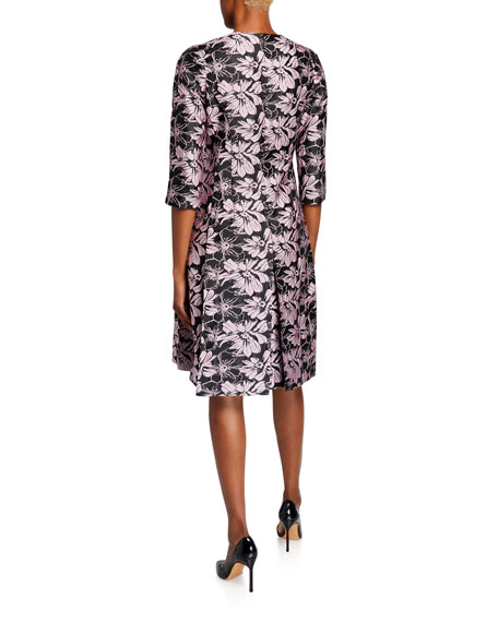 Bow-Neck 1/2-Sleeve Floral Jacquard Dress