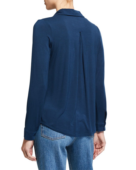Long-Sleeve Button-Down Shirt with Back Pleat
