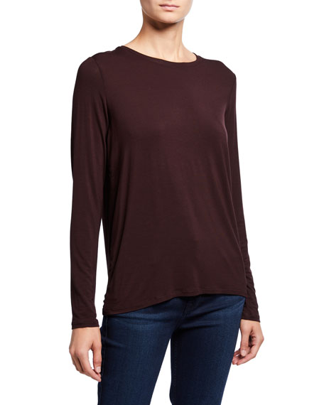 Image 1 of 1: Crewneck Long-Sleeve Top with Back Pleat