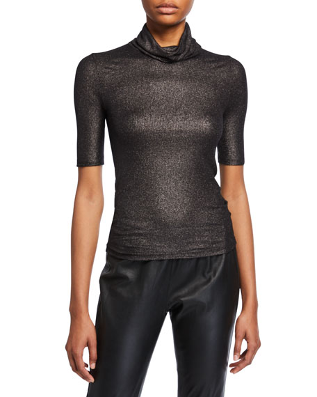 Metallic Ribbed Elbow-Sleeve Turtleneck Top