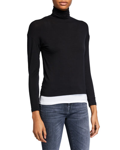 Long-Sleeve Double Layer Turtleneck Sweater