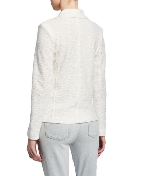Cotton/Cashmere Textured Long-Sleeve Moto Jacket
