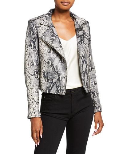 Ashville Cropped Snake-Print Leather Jacket