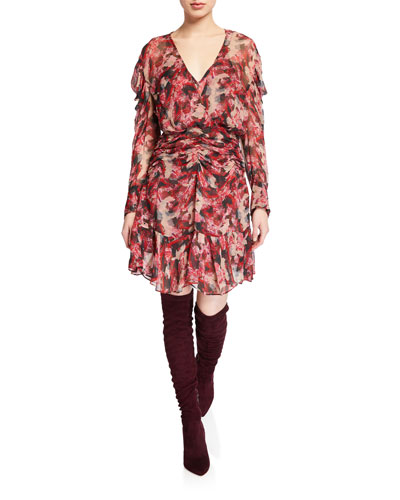 Wick Printed Viscose Ruched Flounce Dress