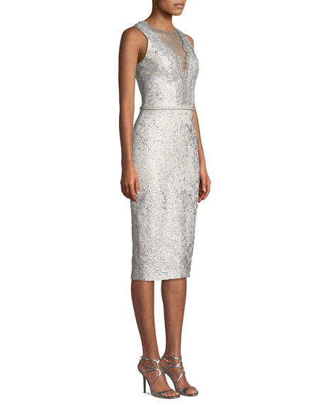 Sleeveless Cloque Cocktail Dress w/ Metallic Lace