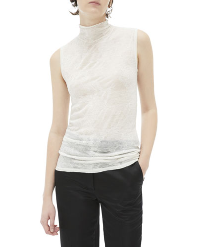 Elasticated Wool Sleeveless Turtleneck Top