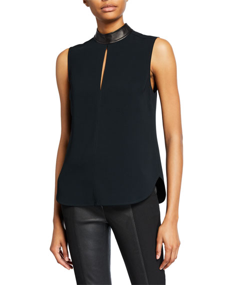 Dallas Sleeveless Collared Keyhole Top