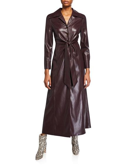 Rosana Vegan Leather Tie-Waist Dress