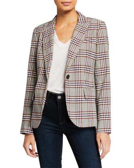 Plaid Single-Button Blazer w/ Pockets