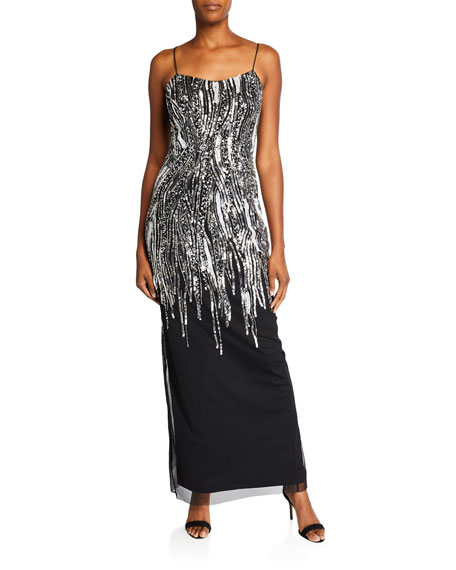 Beaded Column Gown Back Slit & Spaghetti-Straps