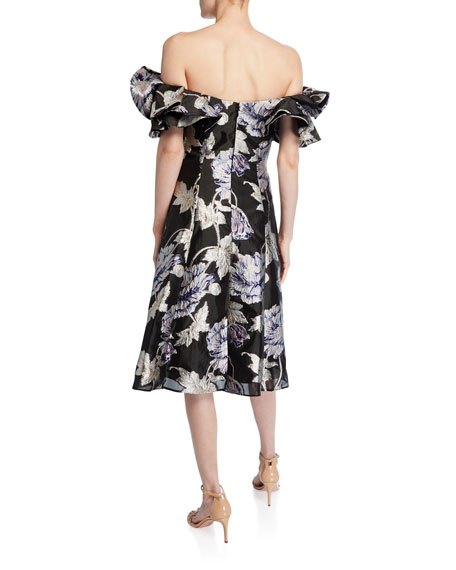 Off-the-Shoulder Floral Jacquard Ruffle-Sleeve Cocktail Dress