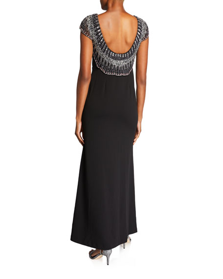 Cap-Sleeve Gown with Beaded Low Back