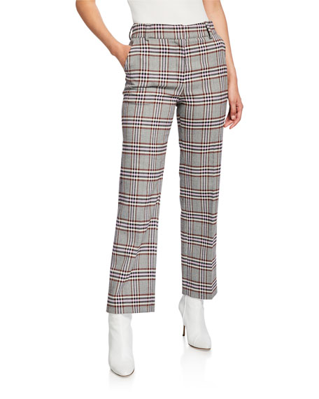 Image 1 of 1: Straight-Leg Check Trousers