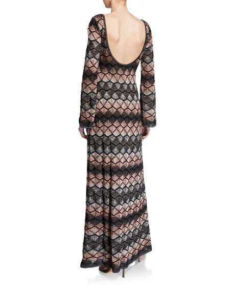 Zigzag Long-Sleeve Scoop-Back Long Dress