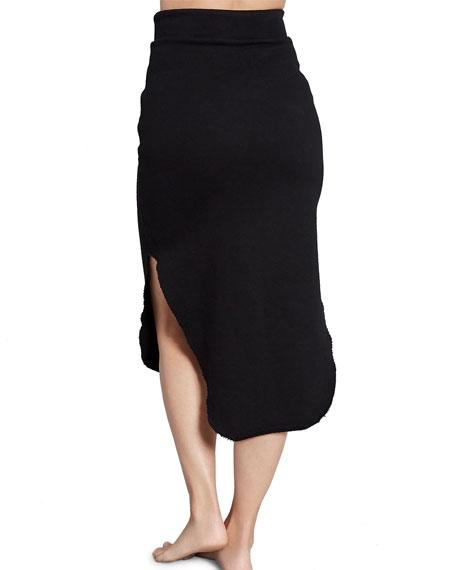 Drawstring Fleece Skirt with Splits