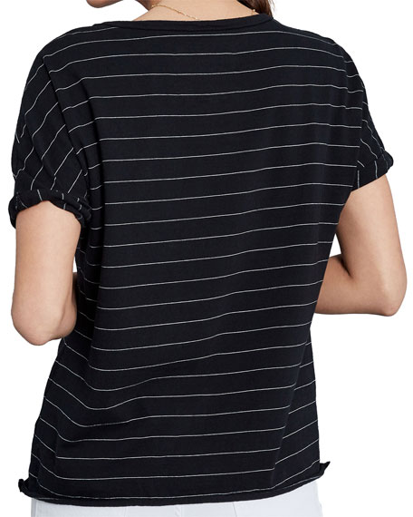 Striped Deep V-Neck Short-Sleeve Jersey Tee