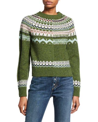 Piazzato Crewneck Jacquard Wool Sweater