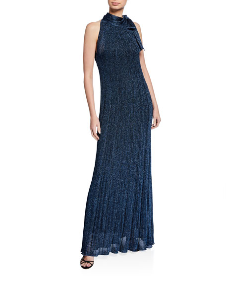 Metallic Tie-Neck Sleeveless Long Dress