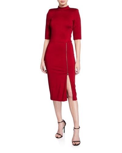 Inka Strong-Shoulder Slit Midi Dress