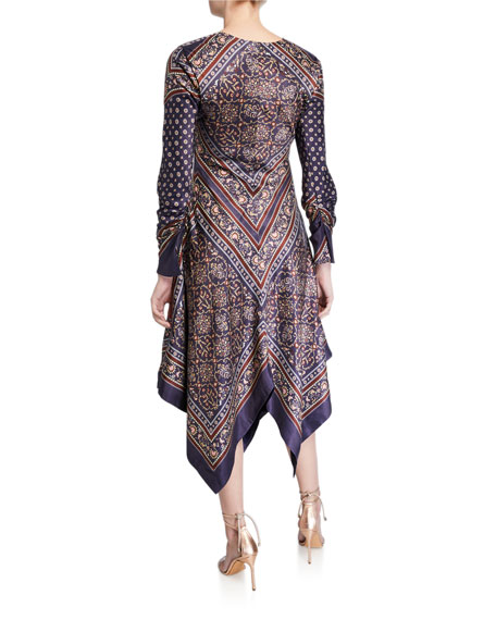 Scarf-Print Deep-V Handkerchief Dress