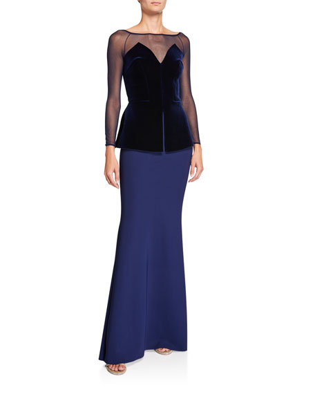 Boat-Neck Long-Sleeve Velvet Peplum Bodice Illusion Gown