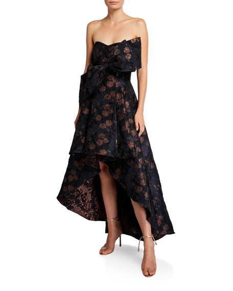 Image 1 of 1: Strapless Brocade High-Low Cocktail Dress with Big Bow