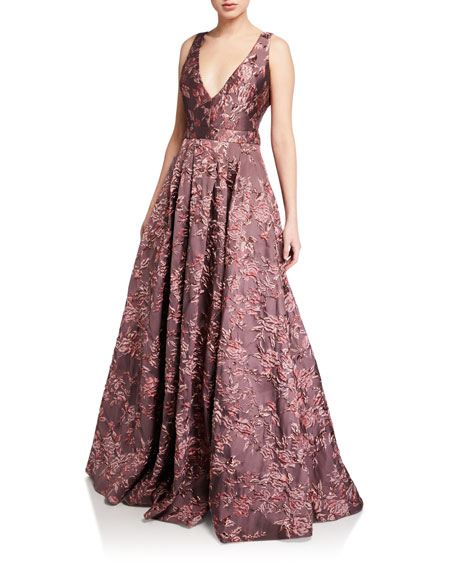 Image 1 of 1: Deep V-Neck Sleeveless Brocade Ball Gown