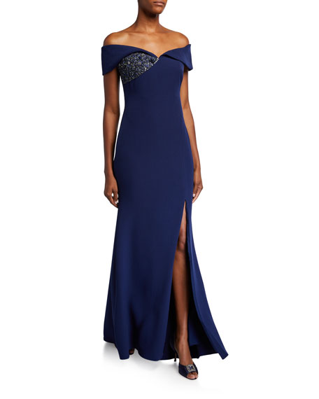 Off-the-Shoulder Gown with Beaded Detail & Thigh Slit