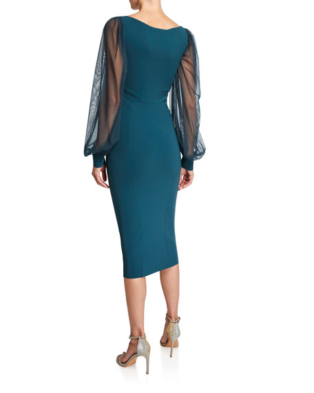 V-Neck Sheer-Sleeve Empire-Waist Sheath Dress