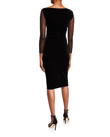 Bracelet-Sleeve Illusion Dress with Asymmetric Ruffle Detail