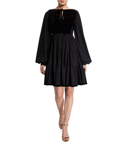 Tie-Neck Puff-Sleeve Full Skirt Peasant Dress