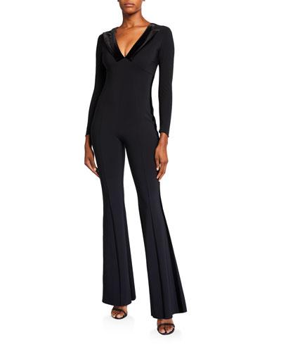 Velvet Collar Long-Sleeve Flare-Leg Tux Jumpsuit