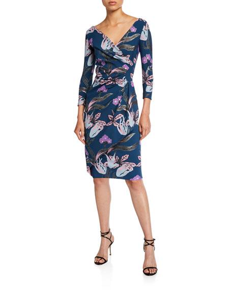Floral V-Neck Long-Sleeve Side-Drape Dress