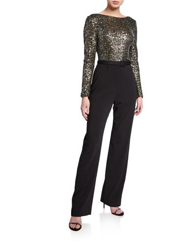 Sequin Long-Sleeve Cowl-Back Belted Jumpsuit