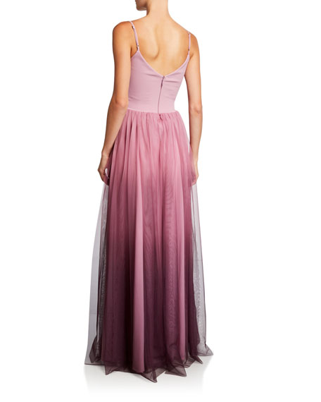 Vogue Ombre Spaghetti-Strap Tulle Bustier Gown