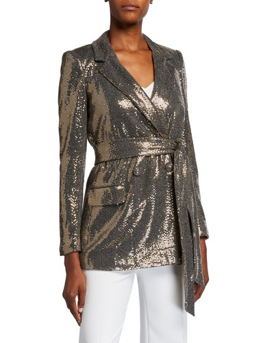 Sequin Long-Sleeve Belted Smoking Jacket