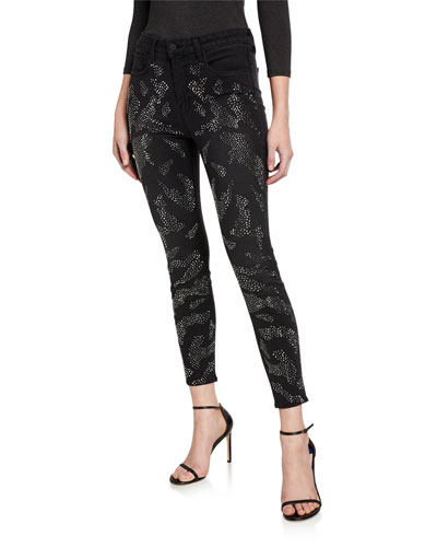Margot High-Rise Skinny Ankle Jeans with Crystal Leopard Spots