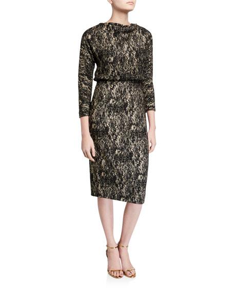 Foiled High-Neck 3/4-Sleeve Blouson Dress