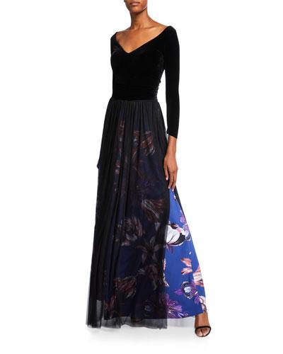 V-Neck Long-Sleeve Velvet Bodice Gown w/ Sheer Overlay Skirt