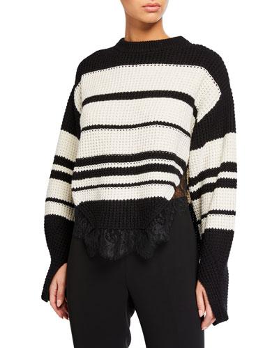 Monochrome Striped Sweater with Lace Trim