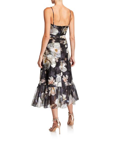 Floral Fils Coupe V-Neck Sleeveless Ruffle-Hem Dress with Lace-Trim