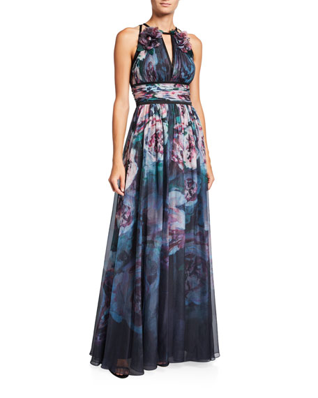 Watercolor Sleeveless Chiffon Gown with Satin Trim & Keyhole