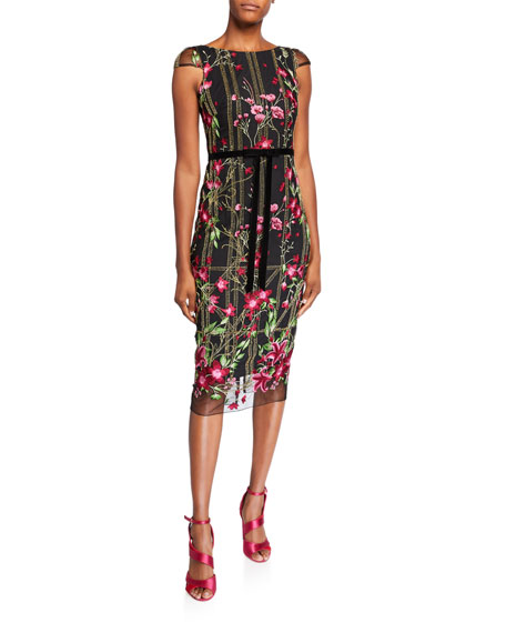 Image 1 of 1: Floral Embroidered Cap-Sleeve Tea-Length Dress