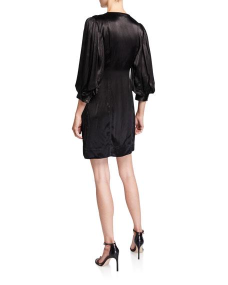Heavy Satin 3/4-Sleeve Wrap Dress